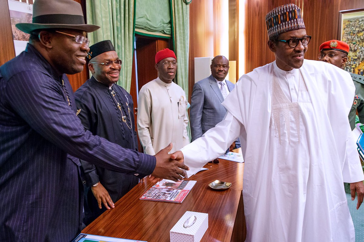 President Buhari meets with 4 PDP Governors