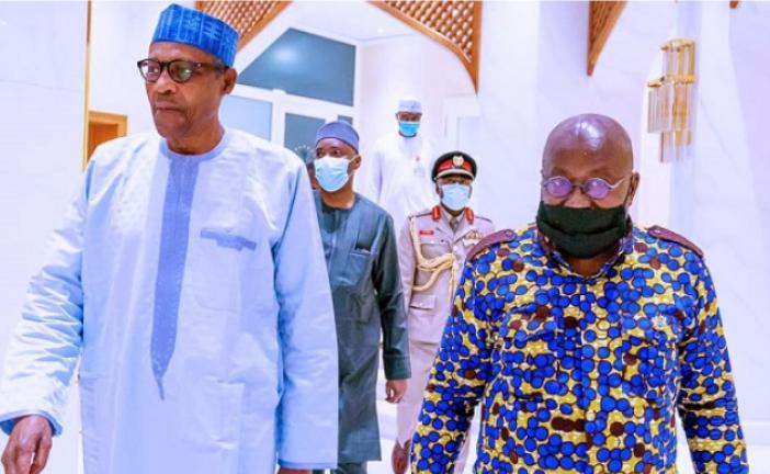 BUHARI MEETS WITH GHANAIAN PRESIDENT AT ASO VILLA OVER PLIGHT OF NIGERIAN TRADERS